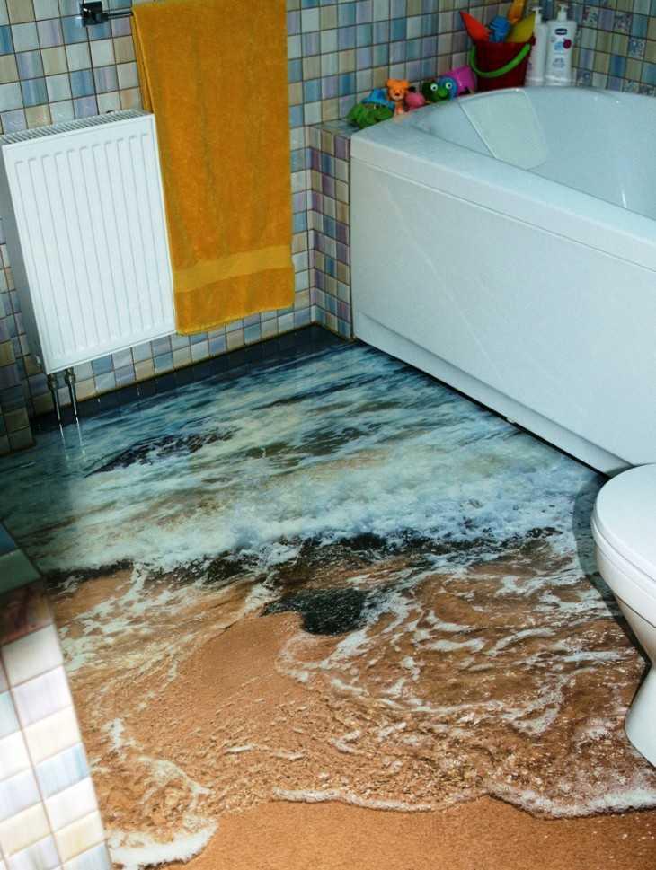 Необычный пол в ванной своими руками