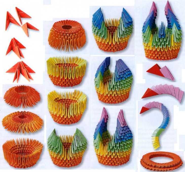 Поделки из бумаги своими руками лебедь модульные оригами схема сборки