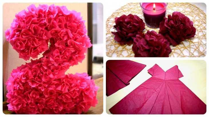 Как сделать цветы из салфеток на 8 марта 106