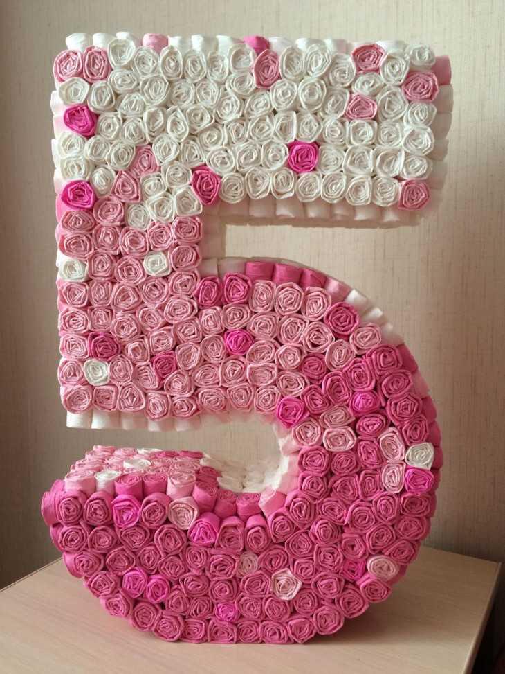 Цифра 9 на день рождения своими руками из гофрированной бумаги