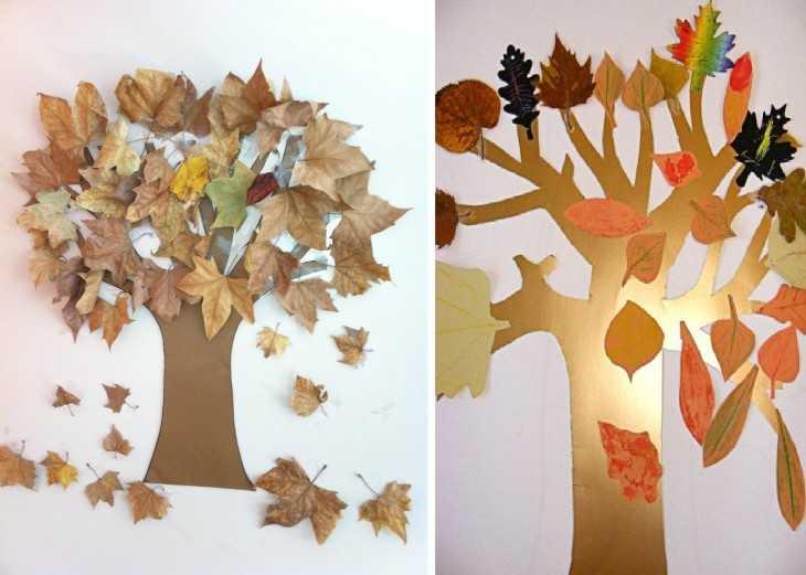 Как сделать дерево из листьев своими руками фото